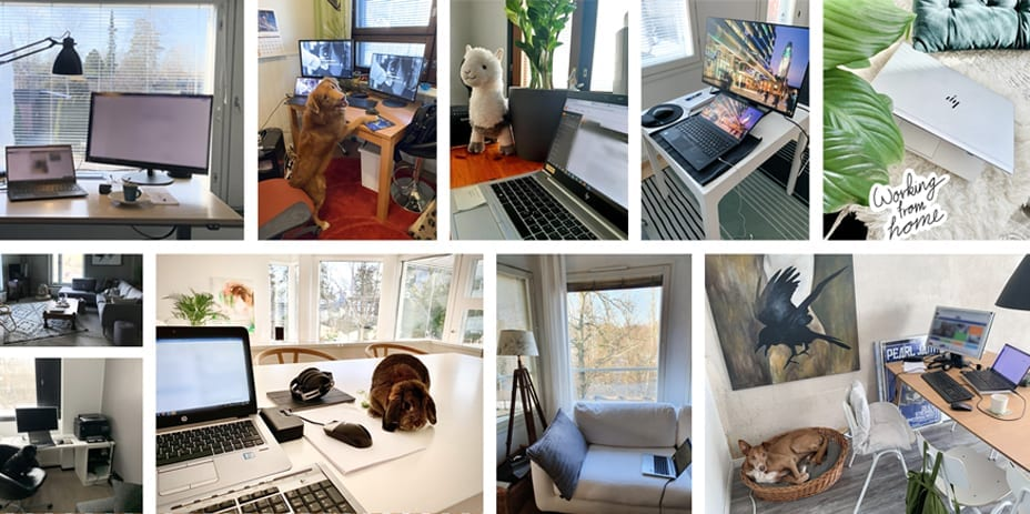LinkedIn-kuvahaasteessa pyydettiin jakamaan kuvia työpisteestä ja kotitoimistokavereista.