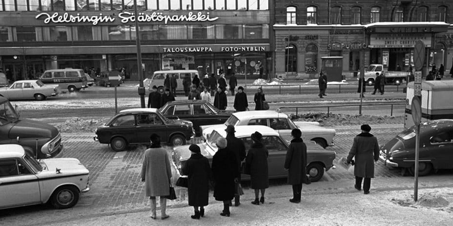 Helsingin keskusta 1970-luvulla.